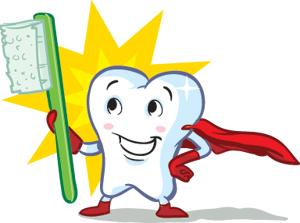 graphic of a tooth with a cape holding a toothbrush